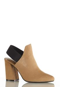 Elastic Strap Heeled Booties