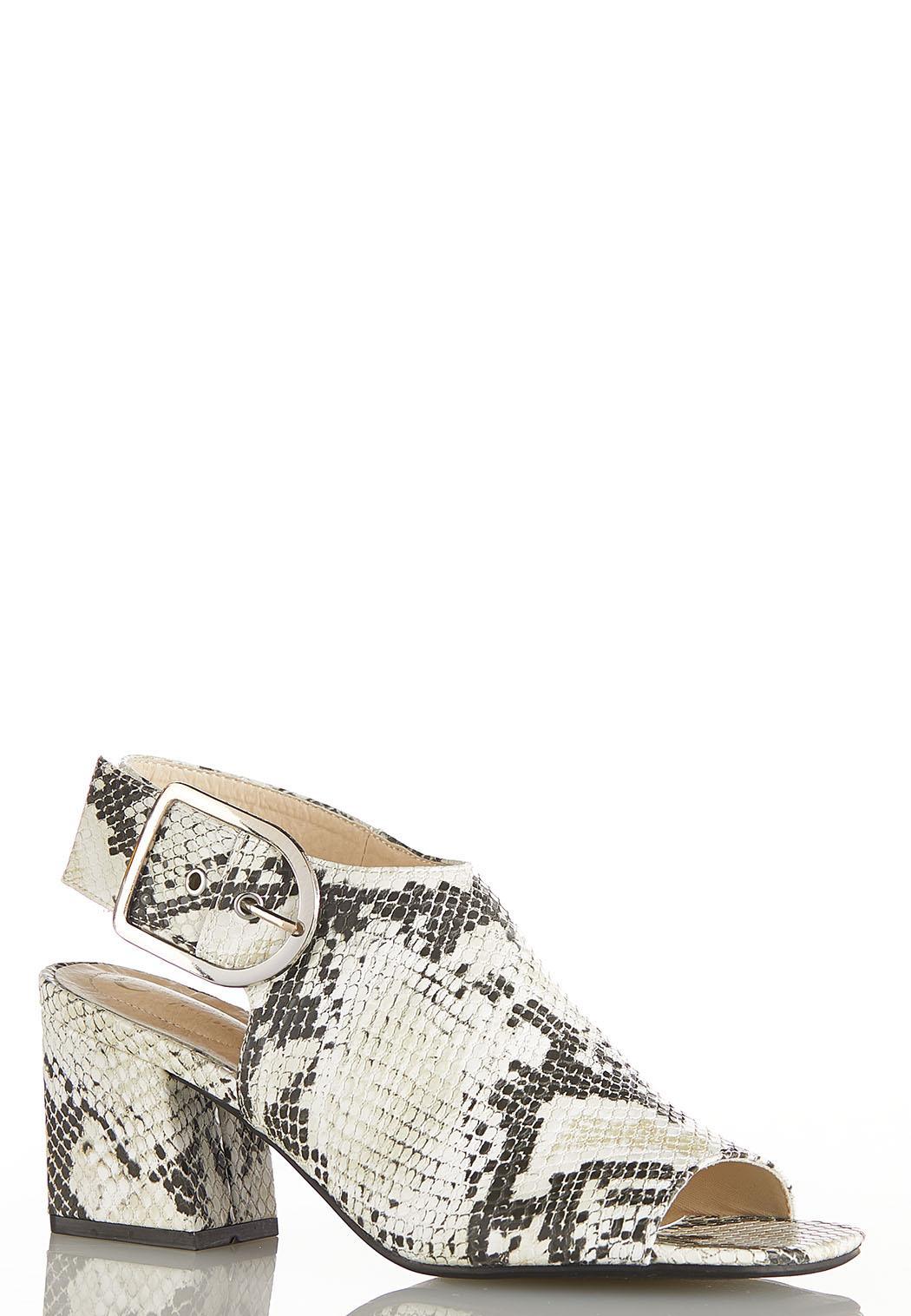 Snakeskin Block Heel Sandals