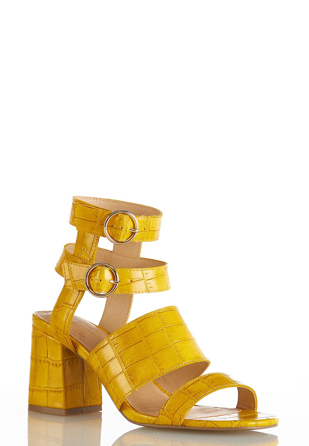 Golden Croc Heeled Sandals