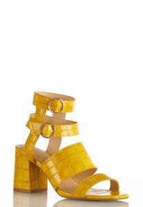 Wide Width Golden Croc Heeled Sandals