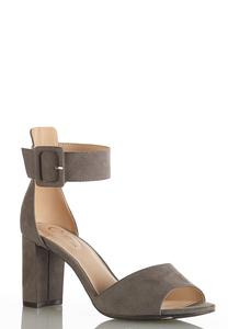 Wide Width Faux Suede Heeled Sandals
