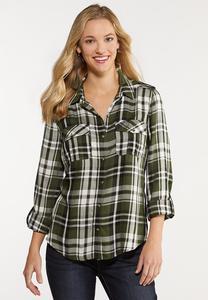 Plus Size Green Plaid Utility Shirt