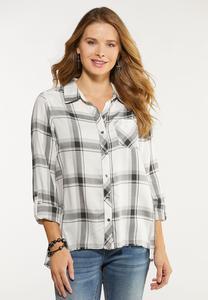 Plus Size Plaid Raw Edge Shirt