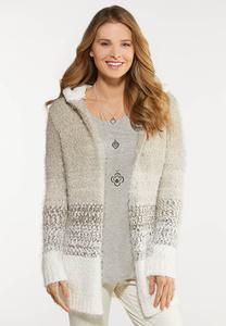 Plus Size Natural Stripe Eyelash Cardigan