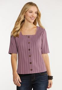 Ribbed Button Down Skimmer Top