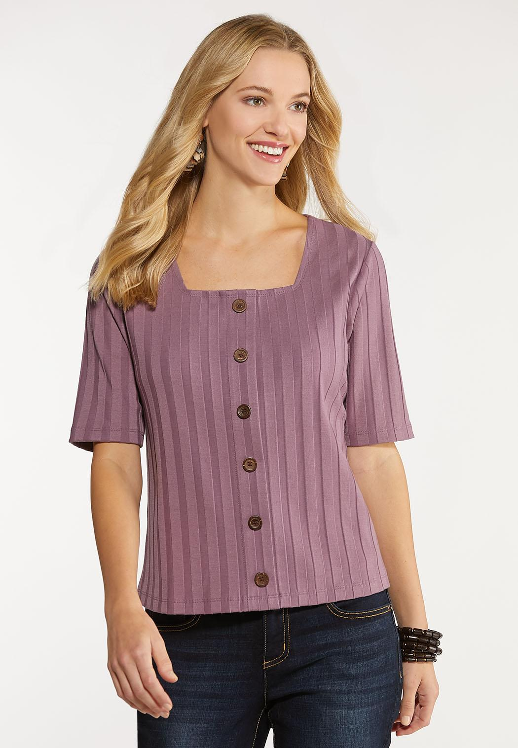 Plus Size Ribbed Button Down Skimmer Top