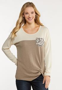 Plus Size Colorblock Animal Top