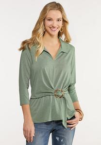 Plus Size Tortoise Buckle Collared Top