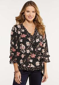 Floral Ruffle Wrap Top