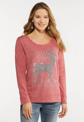 Plus Size Beaded Reindeer Top