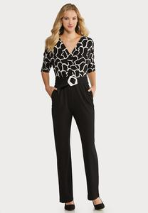 Black White Belted Jumpsuit