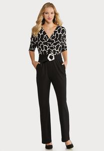 Plus Size Black White Belted Jumpsuit