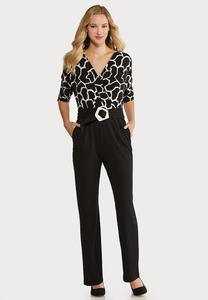 Plus Size Black White Belted Jumpsuit