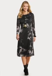 Plus Size Marbled Midi Dress