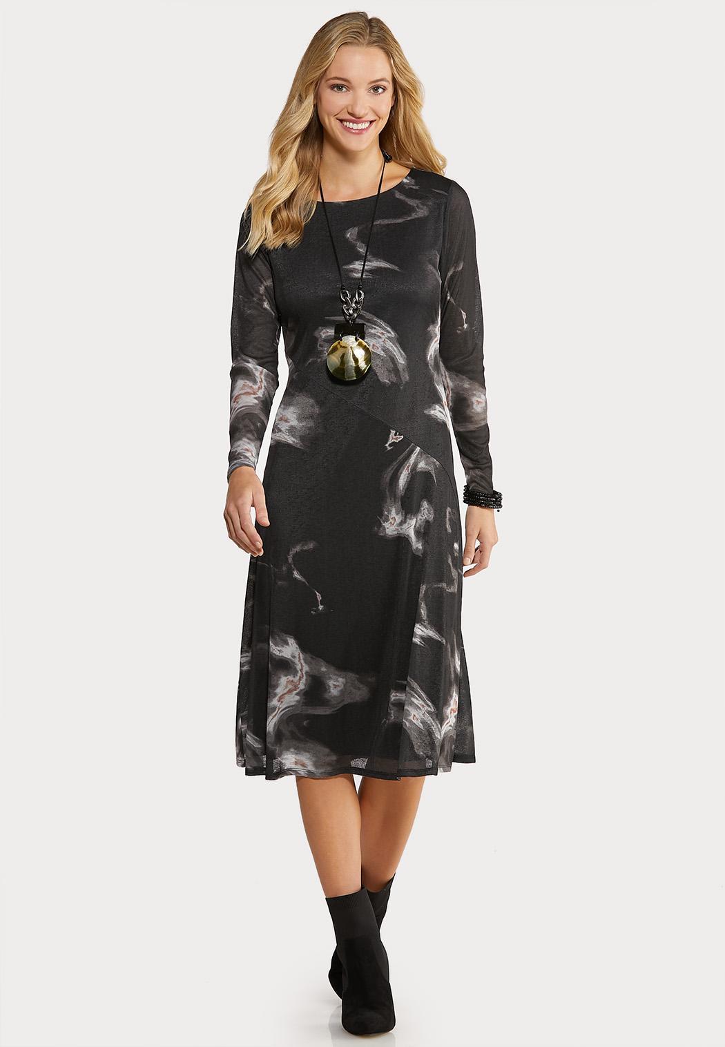 Plus Size Marbled Midi Dress Midi Cato Fashions