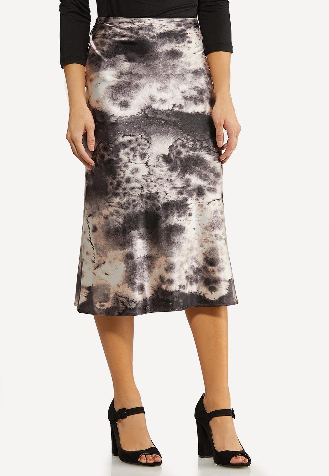 Plus Size Marble Dye Slip Skirt