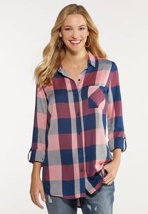 Plus Size Mauve Plaid Shirt