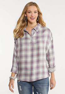 Plus Size Plaid Pullover Shirt