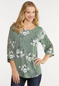 Plus Size Floral Lattice Sleeve Top