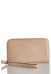 Neutral Quilted Wristlet Wallet