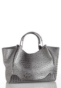 Gray Ostrich Oversized Satchel