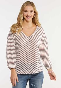 Mitered Stripe Balloon Sleeve Top