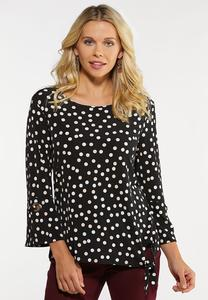 Dotted Flounce Sleeve Top