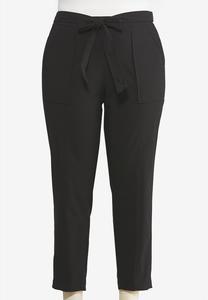 Plus Size Tie Waist Utility Pants