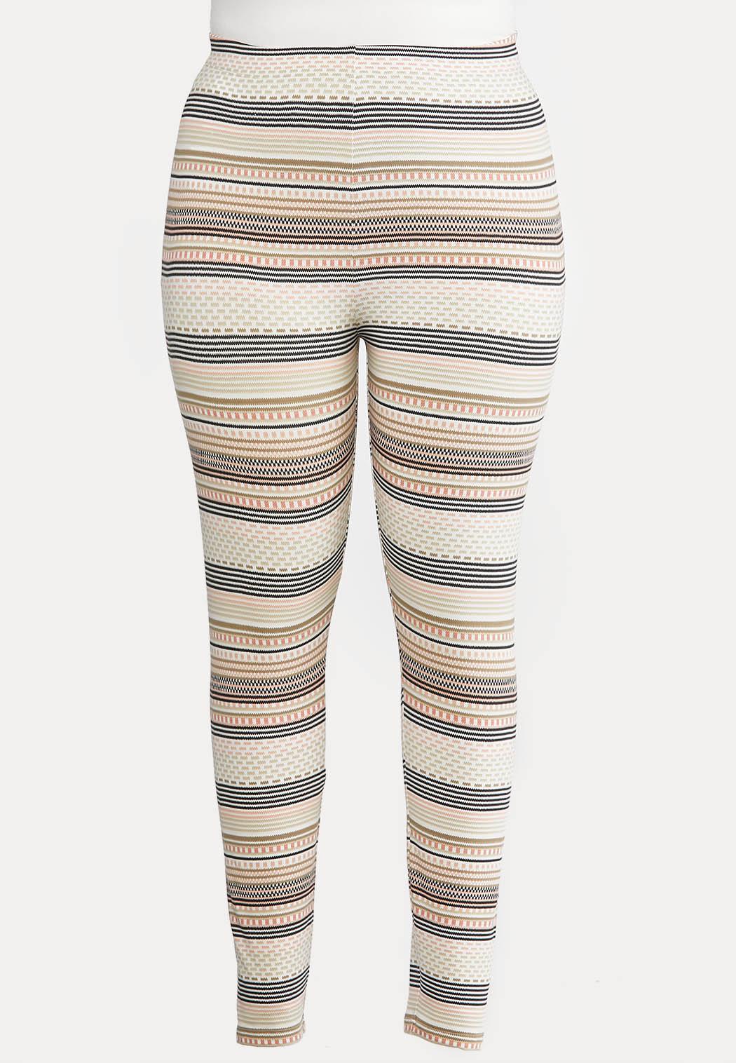 Plus Size Blush Fair Isle Stripe Leggings