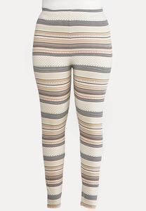 Plus Size Blush Fair Isle Stripe Leggings