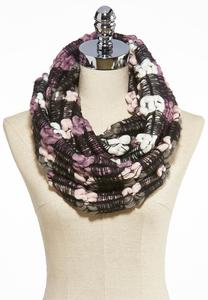Netted Striped Infinity Scarf