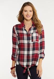 Plus Size Plaid Tie Front Shirt