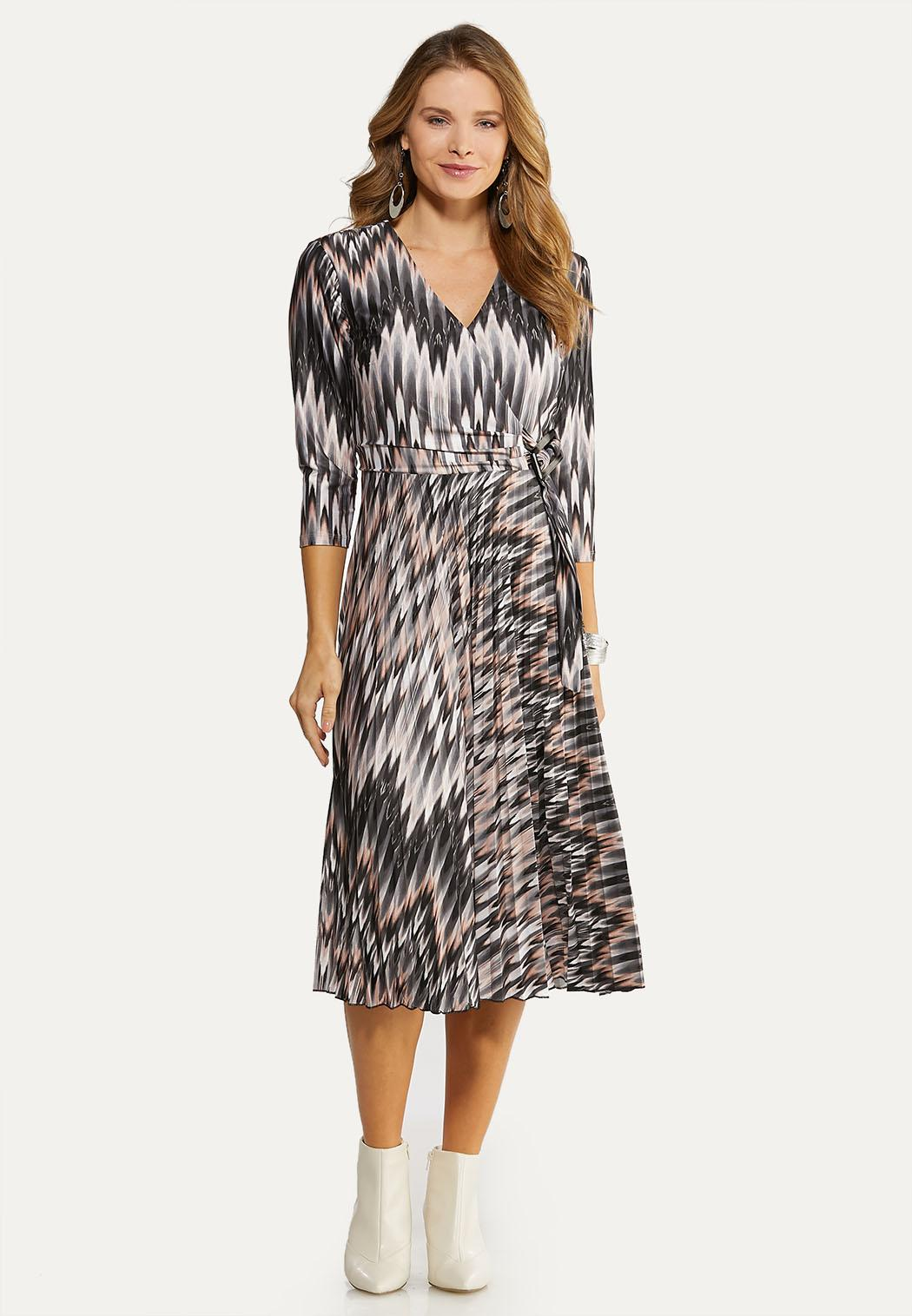Plus Size Silky Chevron Dress Dresses Cato Fashions