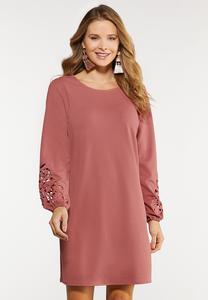 Plus Size Cutout Floral Sleeve Shift Dress
