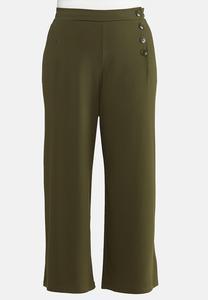 Plus Size Wide Leg Button Pants