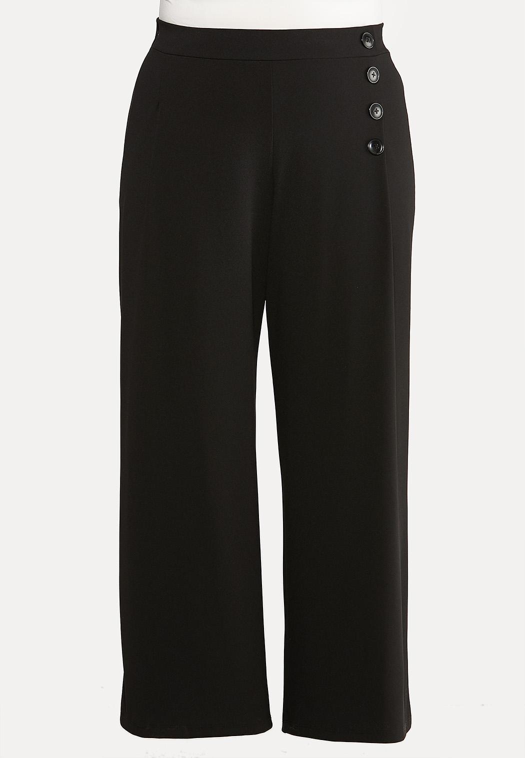 Plus Size Wide Leg Button Pants Wide Leg Cato Fashions