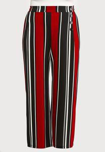 Plus Size Wide Leg Stripe Pants