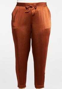 Plus Size Belted Satin Joggers
