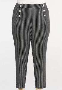 Plus Size Stripe Silver Button Pants