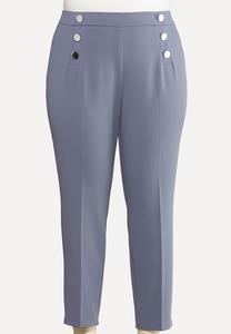 Plus Size Silver Button Pants