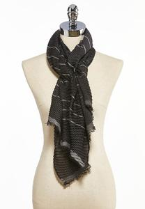Textured Metallic Stripe Scarf