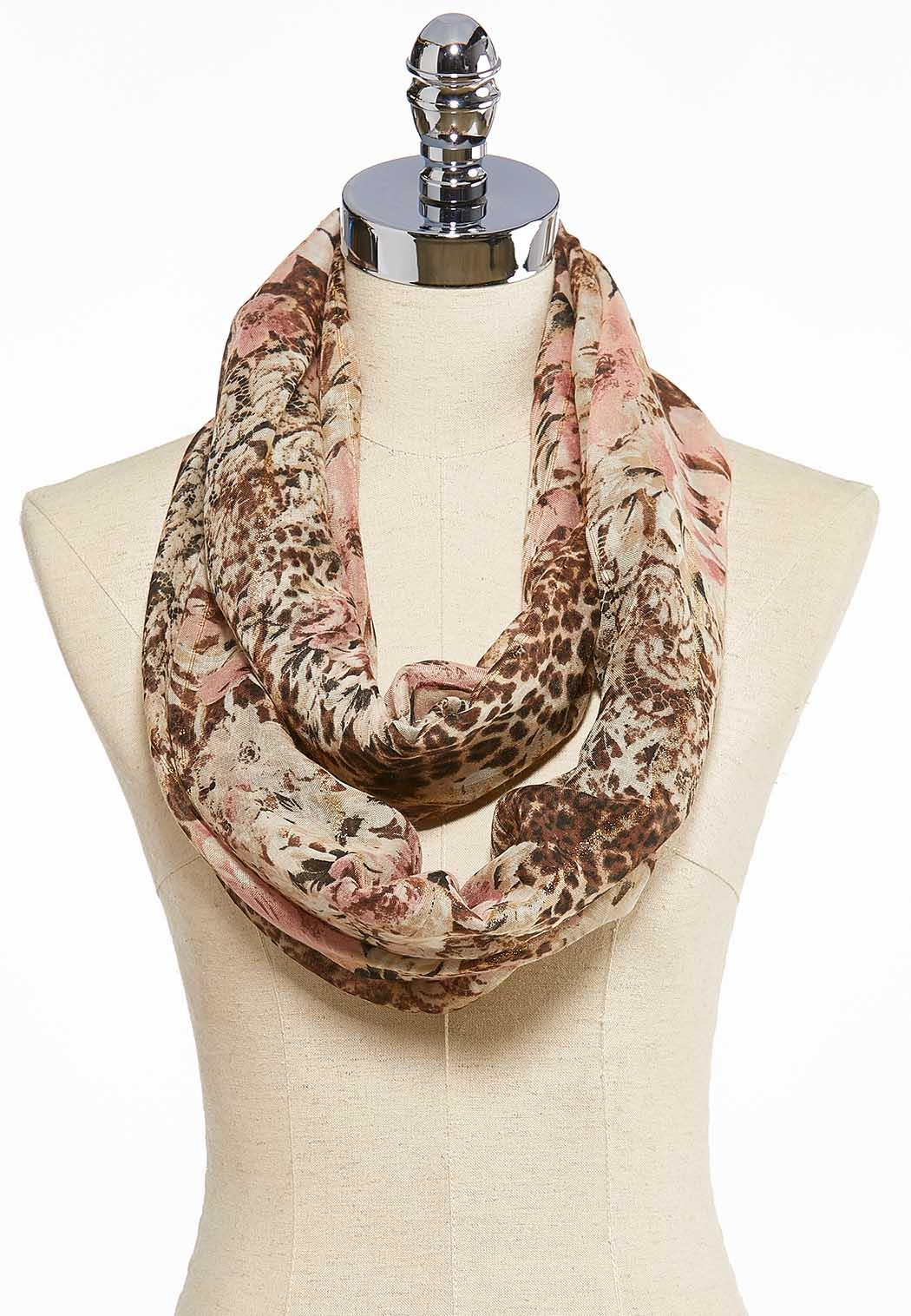 Floral Leopard Infinity Scarf