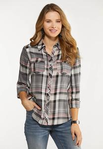Gray Plaid Button Down Shirt