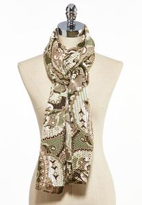 Crinkled Paisley Oblong Scarf