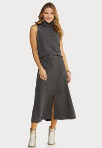 Mock Neck Skirt Set