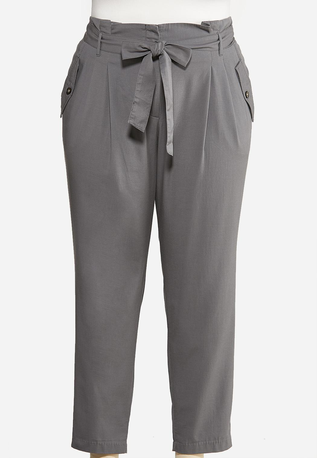 Plus Size Paperbag Tie Waist Pants