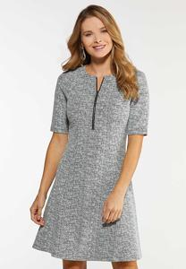 Zip Front Fit Flare Dress