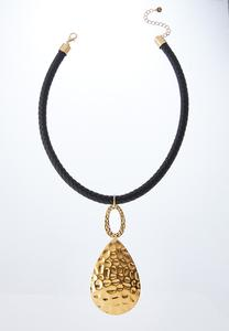 Hammered Tear Cord Necklace