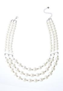 Layered Pearl Rondelle Necklace