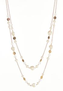 Layered Disc And Pearl Necklace